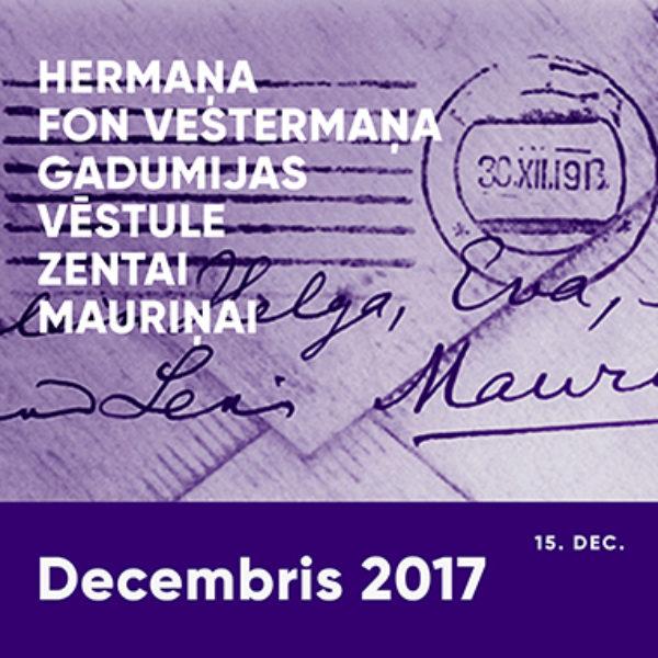 Hermaņa fon Vestermaņa gadumijas vēstule Zentai Mauriņai